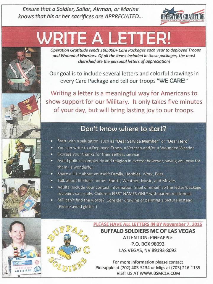Write a letter BSMCLV 2